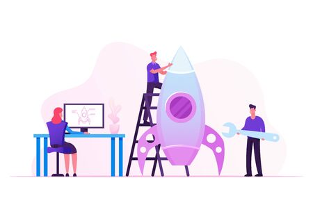 Creative Team Rocket Launch, Businesspeople Set Up Shuttle Using Project Sketch on Pc. Launching Business Startup. Financial Idea Successful Strategy Realization. Cartoon Flat Vector Illustration Illustration