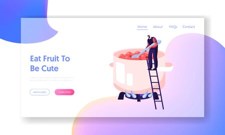 Man Cooking Homemade Fruit Jam or Marmalade Website Landing Page. Tiny Male Character Standing on Ladder at Huge Pan Stirring Sweet Boiling Water Web Page Banner. Cartoon Flat Vector Illustration