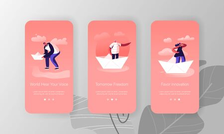 People on Paper Ship Mobile App Page Onboard Screen Set. Woman Looking Forward Man Pointing Way with Hand. Origami Boat Business Hobby Concept for Website or Web Page, Cartoon Flat Vector Illustration 向量圖像