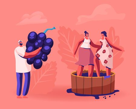 Winemaker Holding Huge Freshly Picked Up Wine Grapes, Harvesting on Vineyard. Happy Smiling Women Stomping Grape in Wooden Barrel. Winemaking Process, Harvest Festival Cartoon Flat Vector Illustration
