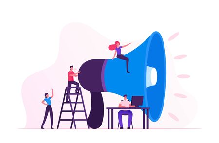 Concept de marketing social. Personnages hommes et femmes faisant la promotion en ligne sur un réseau social à l'aide d'un ordinateur portable et d'un énorme mégaphone. Relations publiques et affaires, Communication, Pr. Illustration vectorielle plane de dessin animé