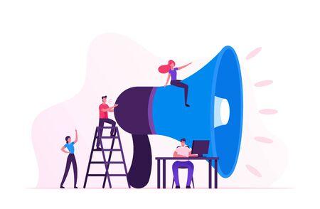Social-Marketing-Konzept. Männer und Frauen, die online im sozialen Netzwerk mit Laptop und riesigem Megaphon werben. Öffentlichkeitsarbeit und Angelegenheiten, Kommunikation, Pr. Flache Vektorillustration der Karikatur