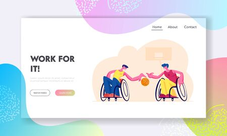Paralympic Athletes Training Website Landing Page. Disabled Paralyzed Men Playing Basketball Sitting on Wheelchairs, Handicapped Characters Sports Web Page Banner. Cartoon Flat Vector Illustration