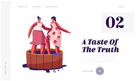 Winemaking Process, Harvest Festival Website Landing Page. Happy Smiling Women Stomping Grapes in Wooden Barrel for Making Wine Drinks and Juice Web Page Banner. Cartoon Flat Vector Illustration