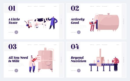 Farm Production Department, Milk Industry Website Landing Page. People on Plant Producing Milky Food with Machine Assistance. Dairy Factory Manufacture Web Page Banner Cartoon Flat Vector Illustration