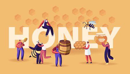 Notion de miel. Personnages avec nid d'abeille, cuillère, pot. Personnes extrayant et mangeant la production d'abeilles douces. Industrie de l'apiculture, Brochure de Flyer de bannière d'affiches agricoles. Illustration vectorielle plane de dessin animé