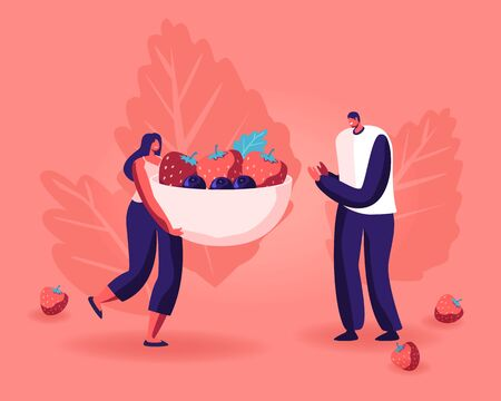 Healthy Eating, Cooking Vegetarian Food and Dieting Concept. Tiny People Eat Berries and Preparing Fruit Jam at Home, Holding Bowl with Strawberries and Blueberries Cartoon Flat Vector Illustration