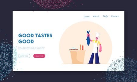Seafood Meal Cooking Website Landing Page. Young Woman in White Toque and Apron Holding Big Fish for Tail on Restaurant Kitchen. Menu for Foodies Web Page Banner. Cartoon Flat Vector Illustration Illustration