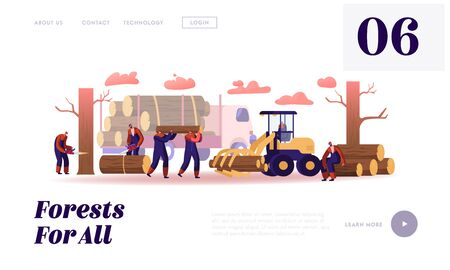Lumber Workers Job Website Landing Page. Lumberjacks Working with Truck and Equipment Logging in Forest. Woodcutters with Chainsaw Cut Wooden Logs Web Page Banner. Cartoon Flat Vector Illustration