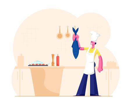 Housewife or Chef Cooking Seafood Meal. Young Woman in White Toque and Apron Holding Big Fish for Tail on Restaurant or Home Kitchen Prepare Menu for Foodies or Family Cartoon Flat Vector Illustration