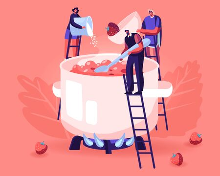 People Making Homemade Strawberry Jam or Marmalade. Tiny Male and Female Characters Stand on Ladders at Huge Pan Putting Sugar and Fresh Ripe Berries to Boiling Water. Cartoon Flat Vector Illustration