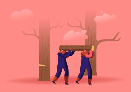 Couple of Lumberjack Laborers Carrying Heavy Wooden Log on Shoulders in Forest. Woodcutters Working in Wood Logging Industry. Logger Professional Occupation, Job. Cartoon Flat Vector Illustration 向量圖像