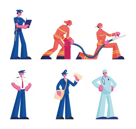 Human Professions Set. Male and Female Characters Wearing Uniform Isolated on White Background, Firefighters Firemen Doctor Policeman Pilot Mailman Occupation, Job. Cartoon Flat Vector Illustration Foto de archivo - 133801420