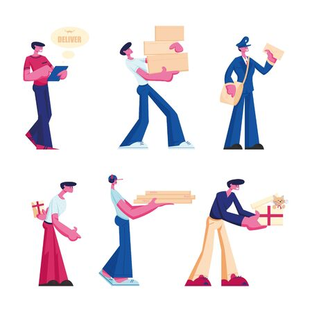 Delivery and Post Office Service Set. Male Characters Delivering Parcels, Gift Box and Pizza Order to Customers Isolated on White Background. Mailman, Deliveryman Job. Cartoon Flat Vector Illustration