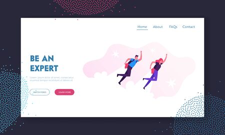 Career Boost, Start Up Website Landing Page. Business Man and Woman Flying Off with Jet Packs. Office Workers Flying Up by Rocket Take Off the Ground Web Page Banner. Cartoon Flat Vector Illustration