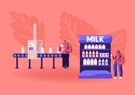 Processo di automazione industriale. L'uomo prende la bottiglia del latte dal nastro trasportatore di fabbrica. Produzione su Transporter Line. Il cliente della donna prende il prodotto lattiero-caseario sullo scaffale del supermercato. Cartoon piatto illustrazione vettoriale Vettoriali