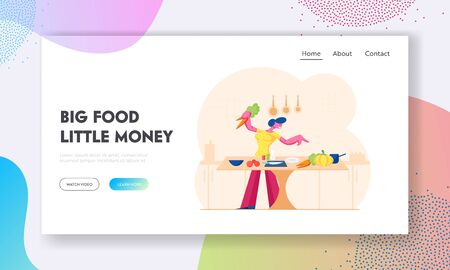 Woman Chopping Vegetables Website Landing Page. Happy Girl Cooking on Kitchen at Home Preparing Healthy Food for Romantic Dating or Dinner Spare Time Web Page Banner. Cartoon Flat Vector Illustration