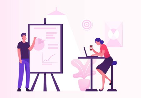 Business Meeting in Creative Office. Project Presentation, Male Character Point on Financial Data Analysis Graphs on Flip Board to Business Colleague Sitting at Desk. Cartoon Flat Vector Illustration Ilustração Vetorial