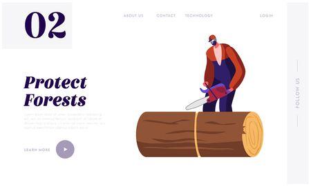 Trabajador de la industria de la madera con página de inicio del sitio web de trabajo de motosierra. Hombre maderero aserrado de troncos en el bosque. Madera de corte de leñador, banner de página web de ocupación de leñador. Ilustración de Vector plano de dibujos animados