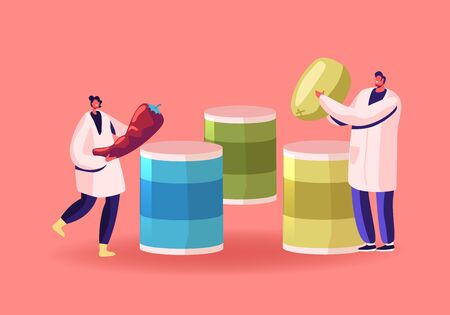 Canned Food Concept. Workers of Canning Factory Put Vegetables in Tinned Containers Metal Packaging. Conserve Soup Product in Can Package. Healthy Goods Grocery Meal. Cartoon Flat Vector Illustration 向量圖像