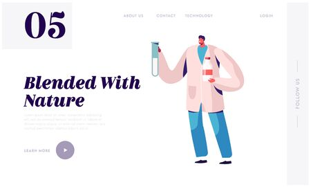 Dairy Production Quality Control Website Landing Page. Man Expert Inspecting Milk in Laboratory. Farmers Production Chemical Examination on Factory Web Page Banner. Cartoon Flat Vector Illustration