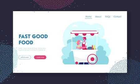 Street Food and Beverages Website Landing Page. Saleswoman in Wheeled Booth with Hotdogs in City Park at Summer. Seller Sell Fast Food to Walking People Web Page Banner Cartoon Flat Vector Illustration Ilustração