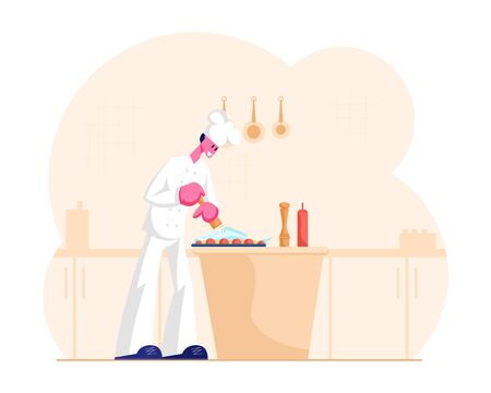 Concentrated Man Chef in White Uniform and Toque Cooking Pepper Fish Lying on Tray with Veggies. Professional Cook Preparing Seafood on Table in Restaurant Kitchen. Cartoon Flat Vector Illustration Illusztráció