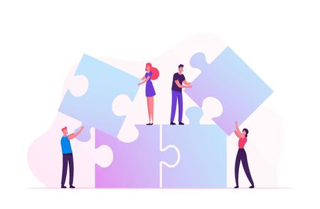 Team Work Metaphor. People Connecting Puzzle Elements. Teamwork Cooperation. Male and Female Characters Set Up Huge Jigsaw Construction. Partnership in Business. Cartoon Flat Vector Illustration