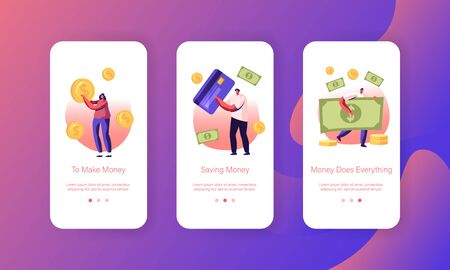 People Paying with Cash and Credit Cards Mobile App Page Onboard Screen Set. Characters Use Live Money and Banking Transactions for Pay Concept for Website or Web Page Cartoon Flat Vector Illustration