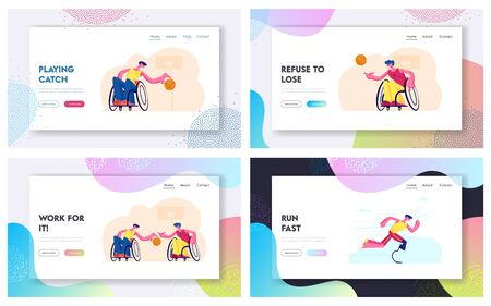 Handicapped People Post-Accident Recovery, Rehabilitation Exercises Website Landing Page Set. Disabled Men Playing Basketball, Running on Stadium Web Page Banner. Cartoon Flat Vector Illustration