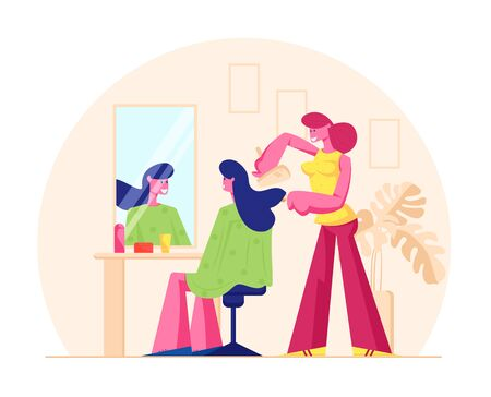 Young Woman Visiting Beauty Salon. Master doing Haircut for Girl in Barbershop Drying Hair with Fan in front of Mirror. Grooming Place, Fashion Club Spa and Body Care. Cartoon Flat Vector Illustration