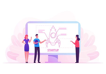 Financial Idea Planning Strategy, Management, Realization and Success. Businesspeople Launching Business Project Startup on Huge Screen. Creative Team Rocket Launch. Cartoon Flat Vector Illustration Illustration