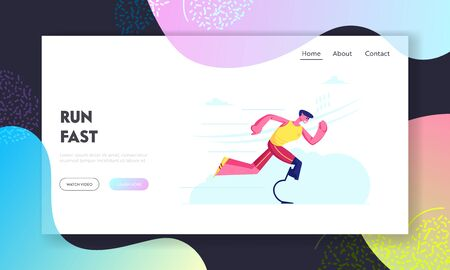 Disabled Athlete Run Training Website Landing Page. Sportsman with Bionic Leg Prosthesis Jogging Recovery Exercise. Young Amputee Man Running Outdoors Web Page Banner. Cartoon Flat Vector Illustration