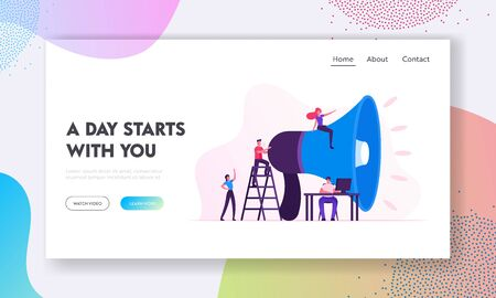 Social Marketing Website Landing Page. Characters Promoting in Social Networks Using Huge Megaphone. Public Relations and Affairs, Pr Communication Web Page Banner. Cartoon Flat Vector Illustration