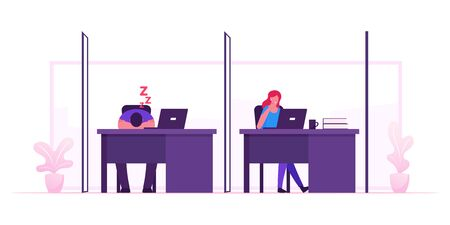 Freelancer Activity in Coworking Space. Characters Work and Rest in Cowork Area with Desks and Computers. Business People Working by Laptop in Creative Shared Workplace Cartoon Flat Vector Illustration 向量圖像