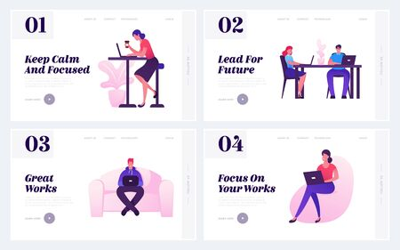 People Working in Office Website Landing Page Set. Creative Employees or Freelancers Work on Laptops Sitting in Coworking Area. Workflow Process Web Page Banner. Cartoon Flat Vector Illustration