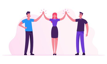 Successful Project Deal Victory Goal Achievement. Business Colleagues Giving High Five in Office. Male and Female Business People Characters Rejoice for Good Job done. Cartoon Flat Vector Illustration