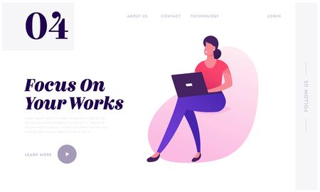 Coworking Center, Creative Office Website Landing Page. Woman Freelancer Working Laptop in Shared Working Environment with Comfortable Chair Business Web Page Banner. Cartoon Flat Vector Illustration 向量圖像