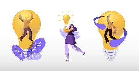 Creative Idea Concept. Business People Stand at Huge Illuminated Light Bulb, Woman Holding Lamp in Hand. Team Searching New Insights for Project Development, Teamwork. Cartoon Flat Vector Illustration Stock Illustratie