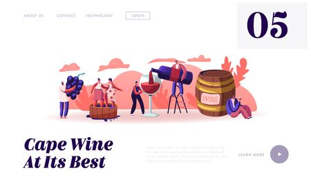 Wine Producing and Drinking Website Landing Page. Man with Bottle Pouring Alcohol Drink to Glass Characters Grow Grapes Produce Natural Vine Production Web Page Banner Cartoon Flat Vector Illustration Illustration