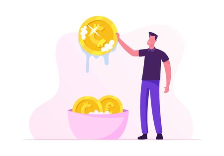 Laundering of Dirty Money Concept. Businessman or Manager Washing Golden Coins in Basin Full of Soap Foam. Dishonest Fraudulent Scheme of Financial Crime, Tax Evasion. Cartoon Flat Vector Illustration