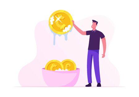 Laundering of Dirty Money Concept. Businessman or Manager Washing Golden Coins in Basin Full of Soap Foam. Dishonest Fraudulent Scheme of Financial Crime, Tax Evasion. Cartoon Flat Vector Illustration Ilustração Vetorial