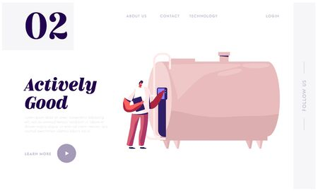 Dairy Food Production Website Landing Page. Man Technologist Switch On Tank for Milk Pasteurization on Factory. Industrial Worker Machinery Technology Web Page Banner. Cartoon Flat Vector Illustration