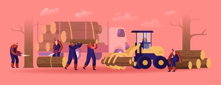 Lumberjack Male Characters in Working Overalls with Truck, Equipment and Tools Logging in Forest. Woodcutters Using Chainsaw Cutting Wooden Log. Lumber Workers Job. Cartoon Flat Vector Illustration