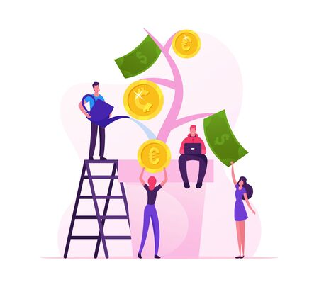 Financial Profit and Investment Concept. Business People Watering Plant in Pot, Collecting Golden Coins and Banknotes from Huge Money Tree. Bank Deposit Income, Wealth Cartoon Flat Vector Illustration