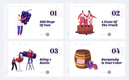Winemaking Process and Degustation Website Landing Page Set. Winemaker Holding Grapes Bunch, Women Stomping Grape in Barrel, People Tasting Wine Web Page Banner. Cartoon Flat Vector Illustration