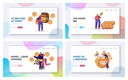 Beekeeping Process and Honey Producing Industry Website Landing Page Set. People Characters in Uniform Caring of Bees, Taking Honey from Honeycombs Web Page Banner. Cartoon Flat Vector Illustration
