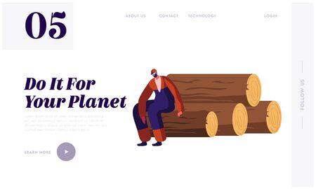 Tala de madera, industria forestal maderera, página de inicio del sitio web del proceso de deforestación. Leñador cansado tener descanso sentado en troncos de madera pila banner de página Web. Ilustración de Vector plano de dibujos animados Ilustración de vector