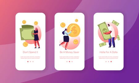 People Using Money Cash Mobile App Page Onboard Screen Set. Tiny Men and Women Characters Paying with Golden Coins and Currency Bills Concept for Website or Web Page, Cartoon Flat Vector Illustration Illustration