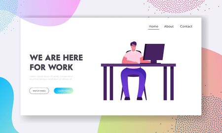 Remote Working Outsourced or Office Employee Website Landing Page. Man Artist Web Designer Programmer Sitting at Desk Working with Computer Online Job Web Page Banner. Cartoon Flat Vector Illustration